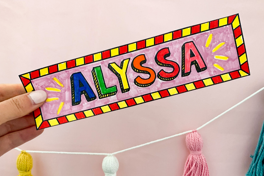 coloring name bookmarks is one of the easiest things to do on the first day of school