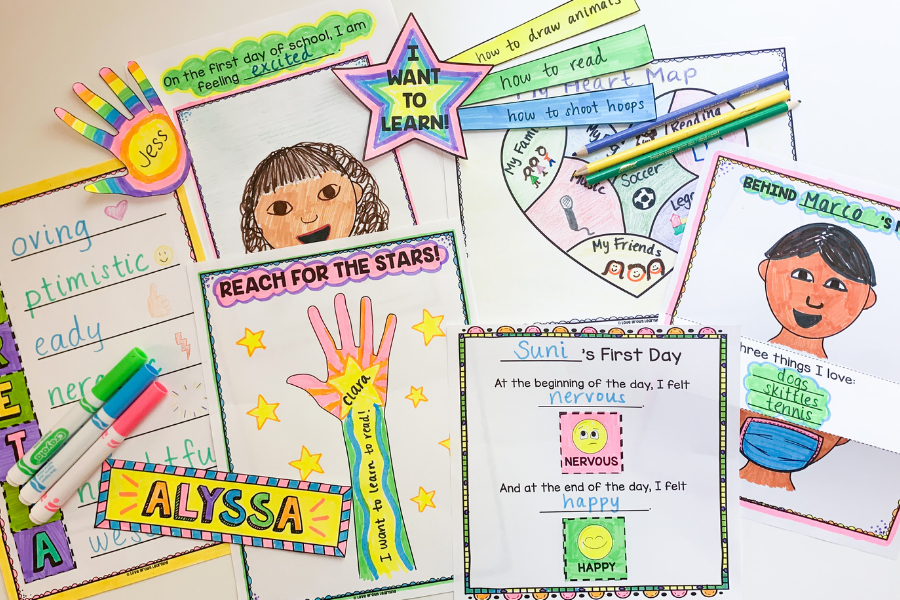Various craft ideas for activities on the first day of school